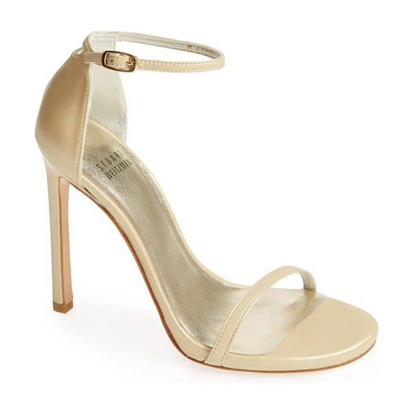Stuart Weitzman nudist sandal in pale gold - Subtle texture lends depth and luster to a minimalist...