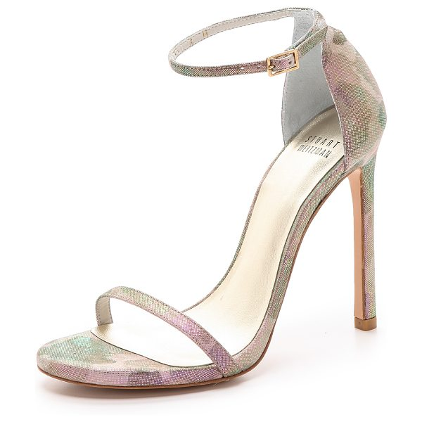 Stuart Weitzman Nudist sandals in rose - Iridescent coating over camouflage suede lends a playful...