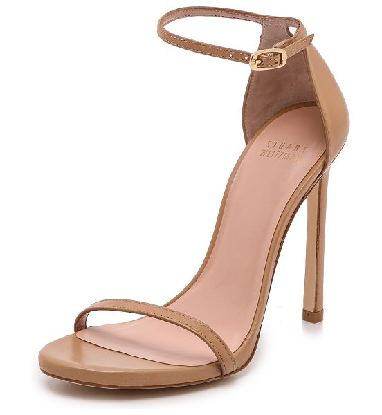 Stuart Weitzman nudist 110mm sandals in light camel - Slim straps lend a delicate feel to leather Stuart...