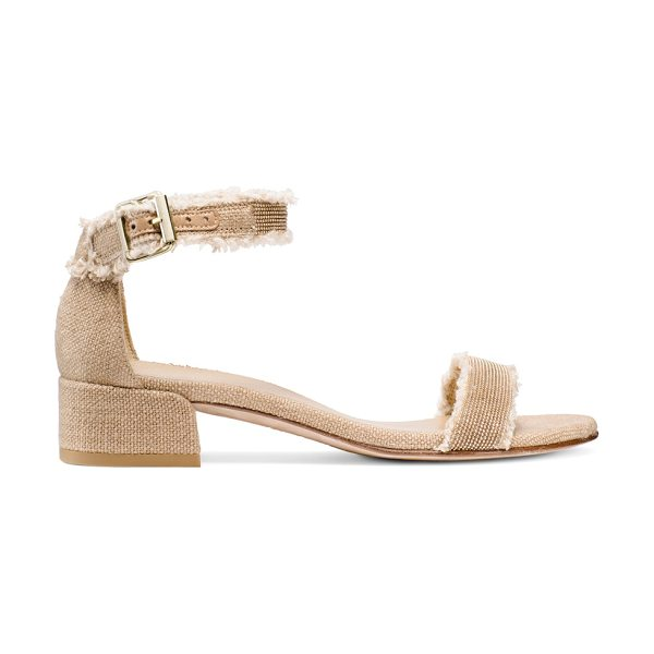 Stuart Weitzman Nudistchains in tan linen - Easy elegance, epitomized. Crafted from linen, these...
