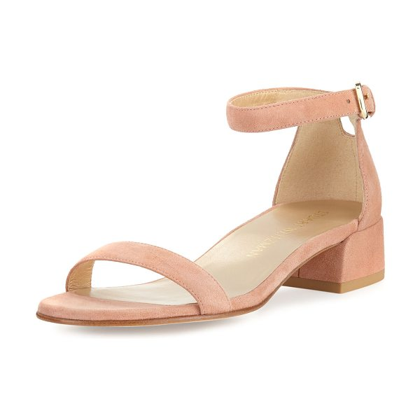 Stuart Weitzman Nudistjune Patent Low City Sandal in naked suede - Stuart Weitzman aniline-dyed patent leather city sandal....
