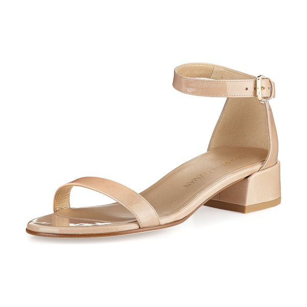 STUART WEITZMAN Nudistjune Patent Low City Sandal - Stuart Weitzman aniline-dyed patent leather city sandal....