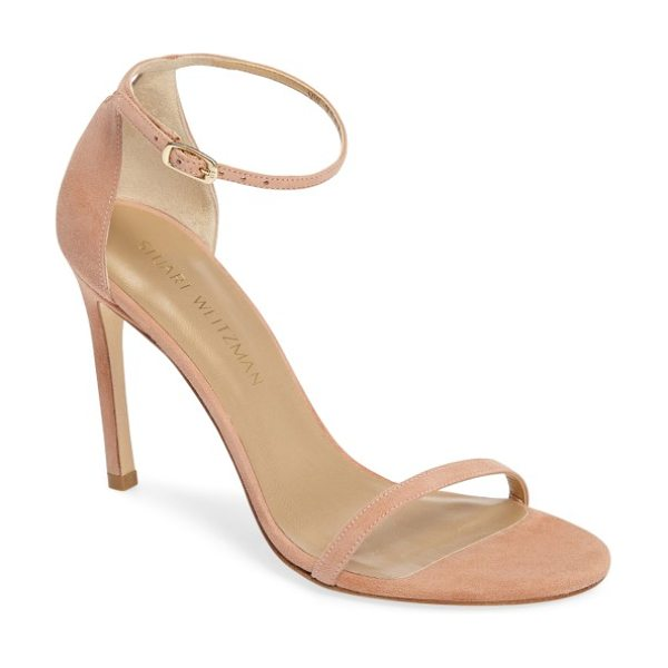 Stuart Weitzman nudistsong ankle strap sandal in naked suede