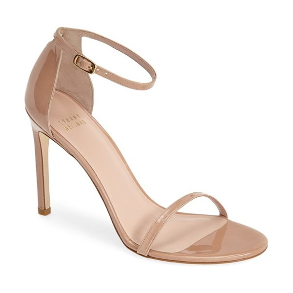 Stuart Weitzman nudistsong ankle strap sandal in adobe aniline - An updated version of the best-selling Nudist sandal,...