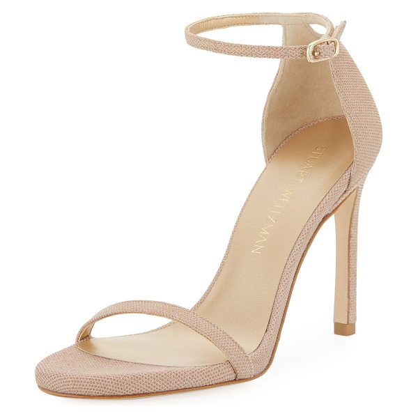 Stuart Weitzman Nudistsong Beaded Napa Sandal in bisque - EXCLUSIVELY AT NEIMAN MARCUS Stuart Weitzman...
