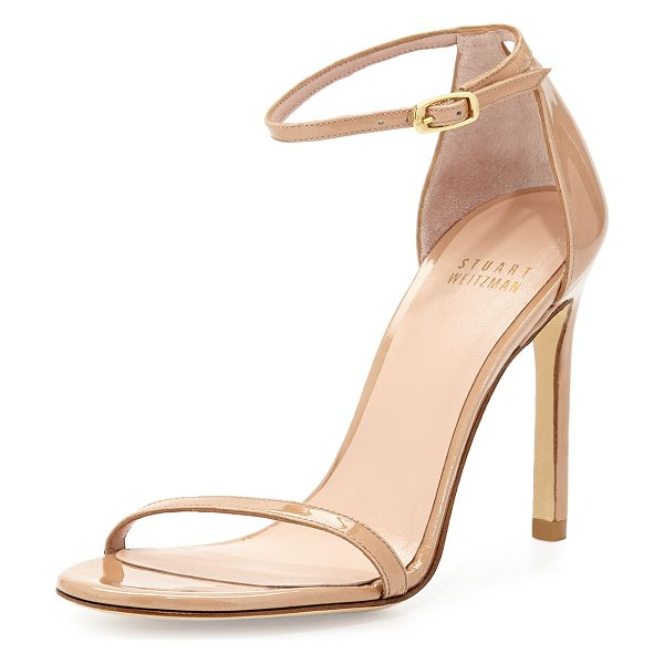 "Stuart Weitzman Nudistsong Patent Ankle-Strap Sandal in adobe aniline - Stuart Weitzman patent leather sandal. 4"" covered..."
