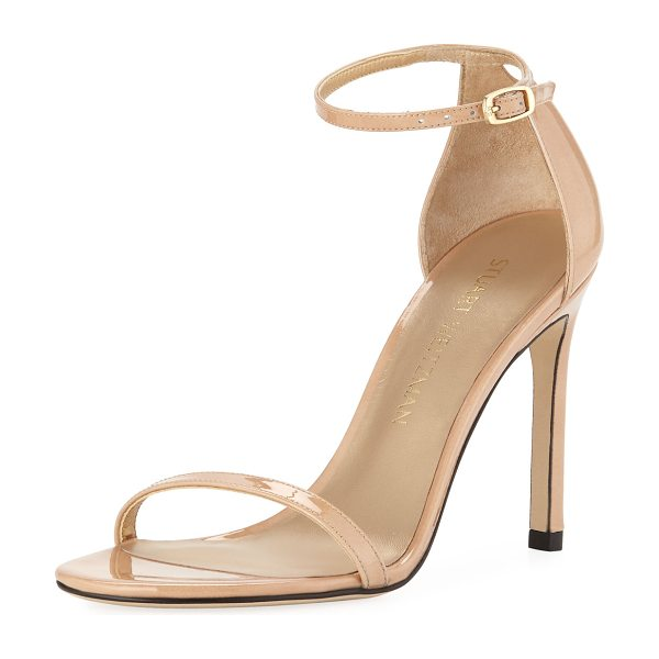 "Stuart Weitzman Nudistsong Patent Ankle-Wrap Sandals in adobe - Stuart Weitzman patent leather sandal. 4"" covered..."