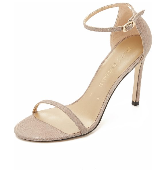 Stuart Weitzman Nudistsong sandals in fawn - Delicate Stuart Weitzman sandals composed of textured...