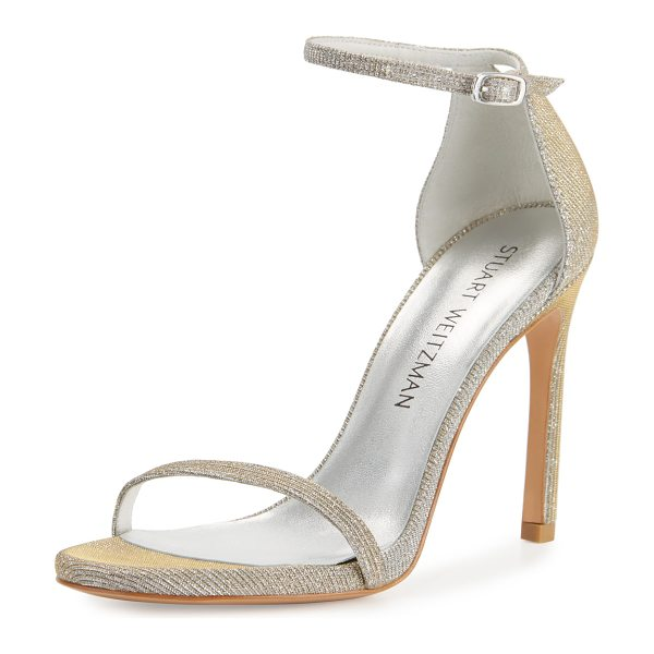 Stuart Weitzman Nudistsong Shimmery Ankle-Wrap Sandal in silver