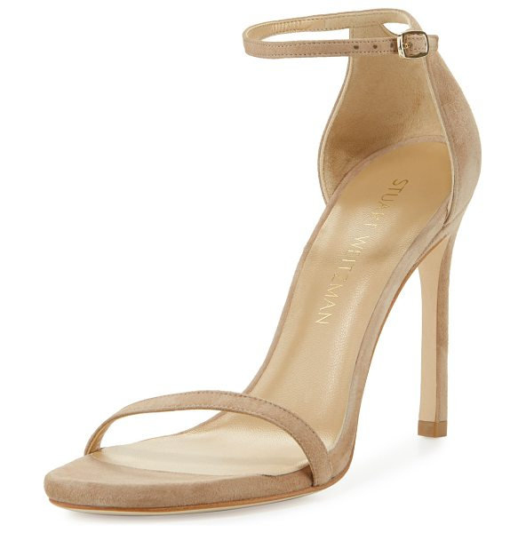 Stuart Weitzman Nudistsong Suede Ankle-Wrap Sandal in sand