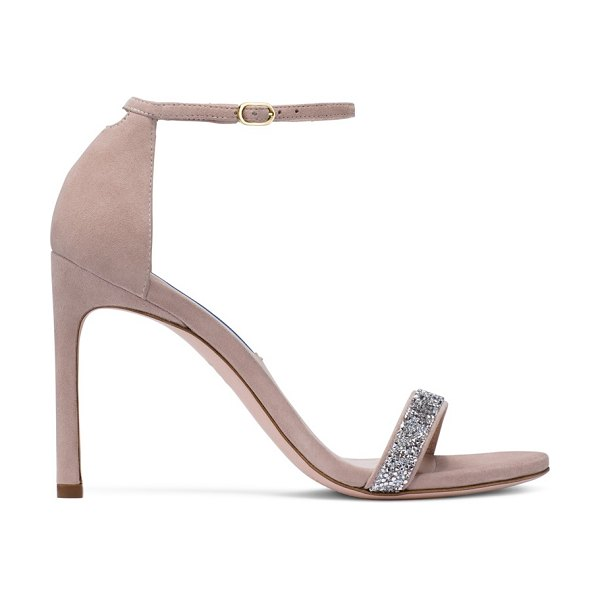 Stuart Weitzman Nudistsong in dolce taupe suede and crystal - The Nudistsong sandals remain a must-have season after...