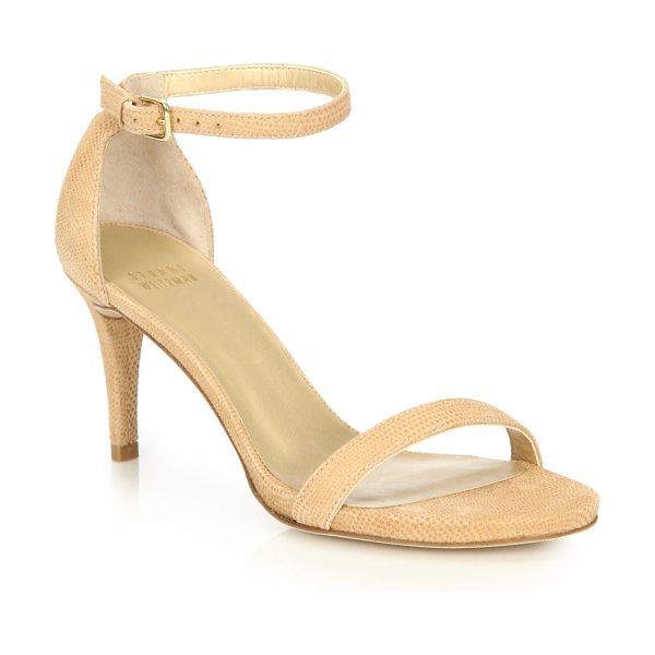 Stuart Weitzman Nunaked embossed leather sandals in nude - Classically chic ankle strap sandal in embossed leather....