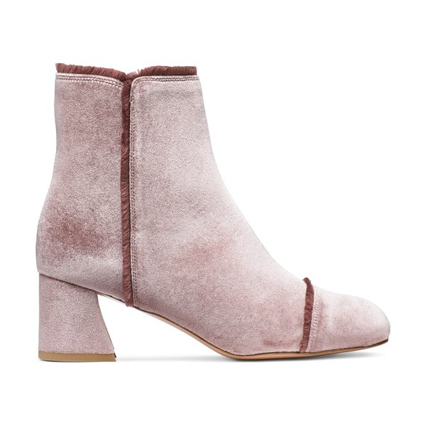 Stuart Weitzman Onthefringe in candy pink velvet - A tinge of fringe. The ONTHEFRINGE booties are crafted...