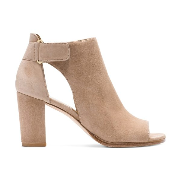 Stuart Weitzman Opendoor in mojave beige suede - Crafted from luxe nappa and sumptuous suede, these...