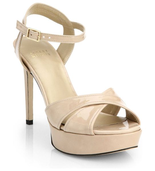 Stuart Weitzman Patent leather platform sandals in beige