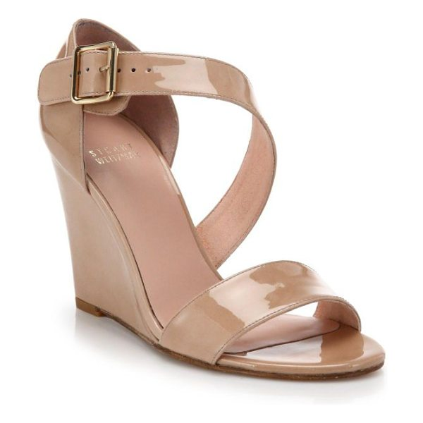 Stuart Weitzman Lineone patent leather wedge sandals in nude - EXCLUSIVELY AT SAKS. These modern, elegant patent...