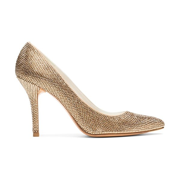 STUART WEITZMAN Pave in camel satin - These showstopping, pointed-toe pumps, gleaming with...