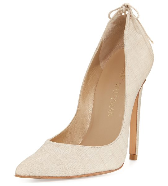 "Stuart Weitzman PeekABow High Slip-On Pump in beige - Stuart Weitzman buck lizard-embossed leather pump. 4""..."