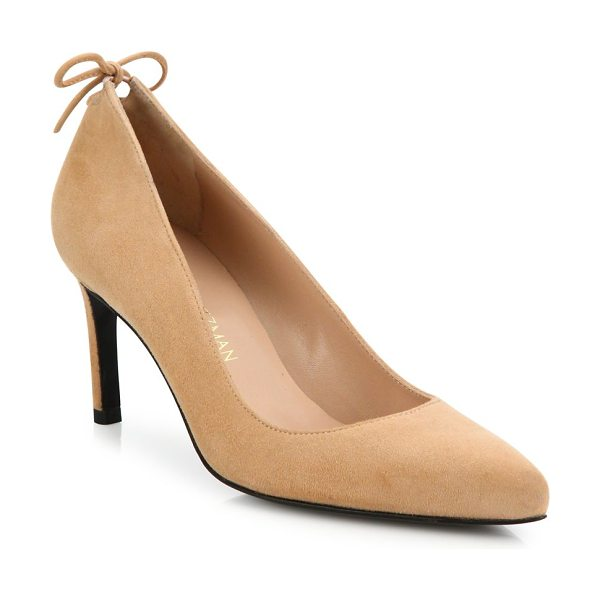 Stuart Weitzman peekamid suede point toe pumps in naked - EXCLUSIVELY AT SAKS FIFTH AVENUE. Sumptuous suede...