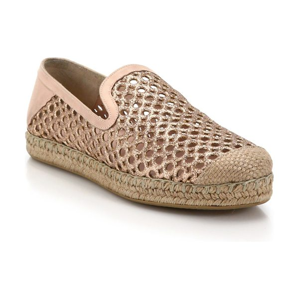 Stuart Weitzman Perforated glittered leather espadrilles in sand-copper - These beach-cool espadrilles are elevated by perforated...