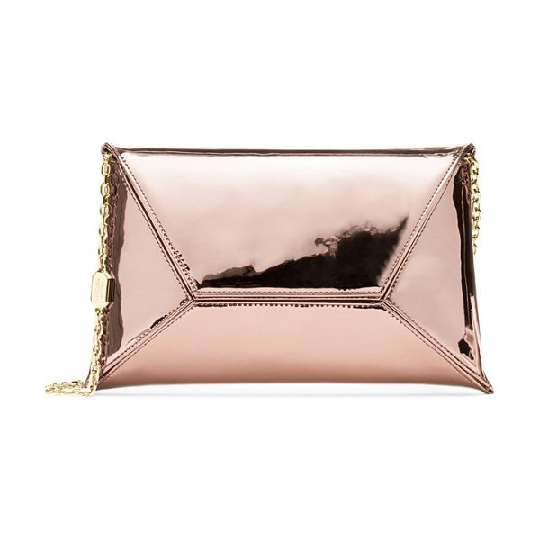 Stuart Weitzman Petite in rose gold glass - No closet is complete without a classic envelope clutch,...