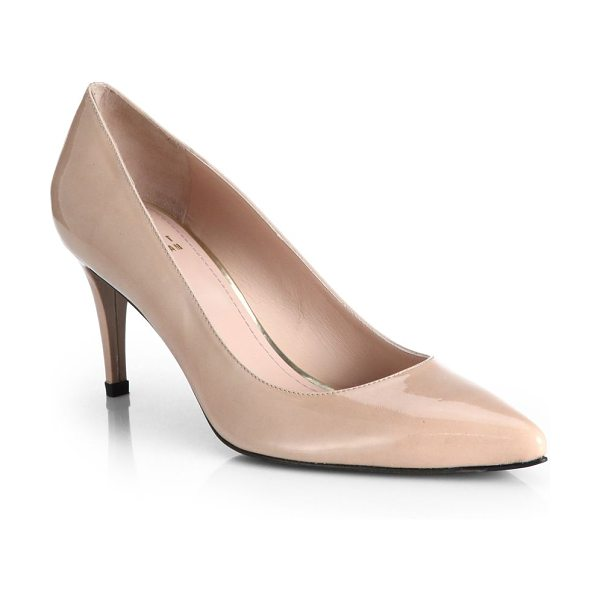 Stuart Weitzman Pino patent leather pumps in nude - A perfectly-sized heel takes these impeccably tailored...