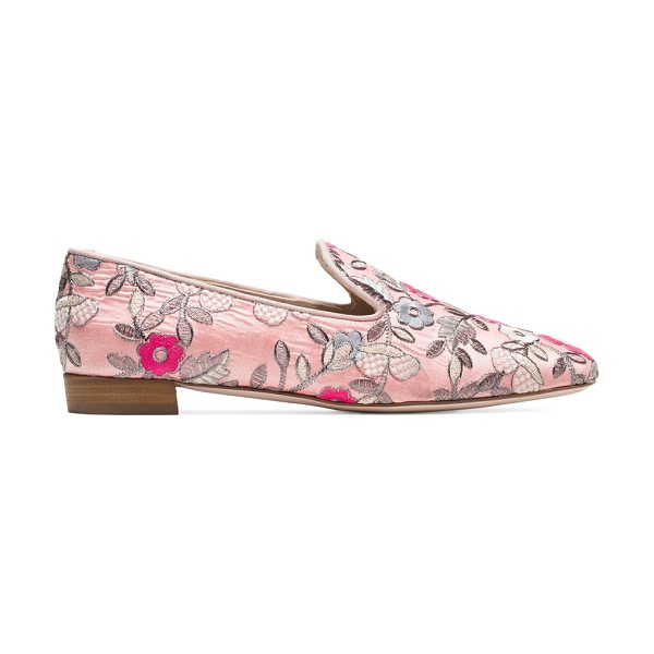 Stuart Weitzman Pipearky in rose pink embroidered fabric - Loafers have a luxe new look by way of the PIPEARKY...