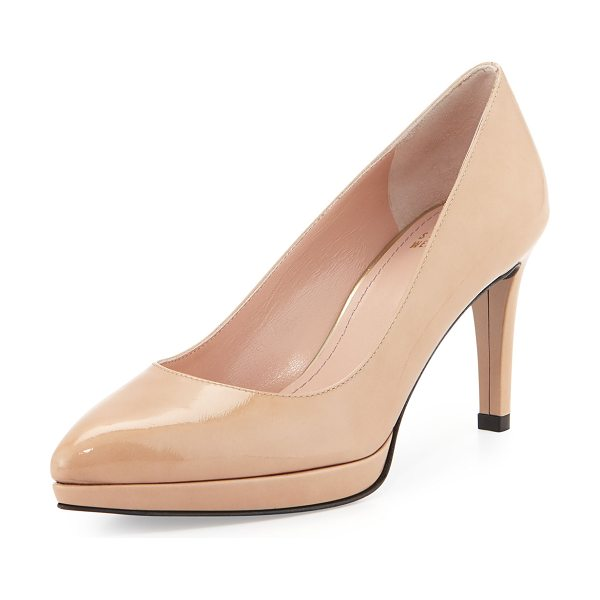 "STUART WEITZMAN Plato Patent Leather Pump - Stuart Weitzman patent leather pump. 3"" covered heel;..."