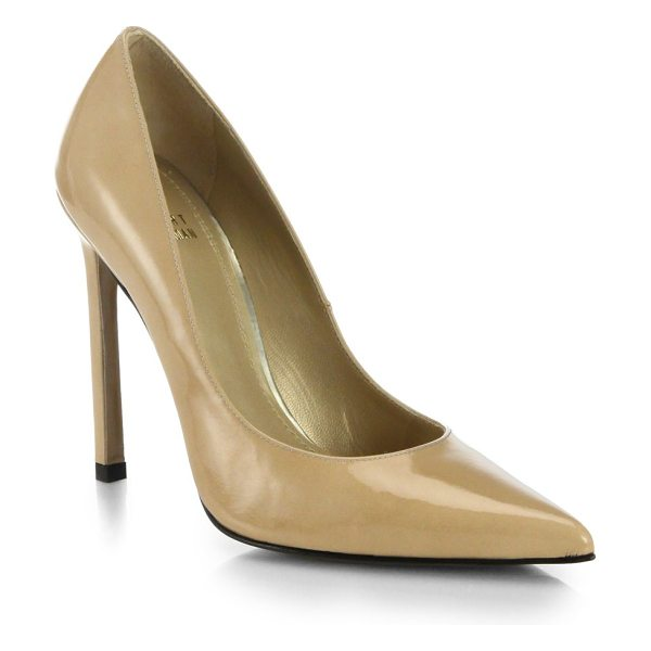 Stuart Weitzman Queen patent leather pumps in beige - Beautifully crafted in a sleek silhouette with a point...
