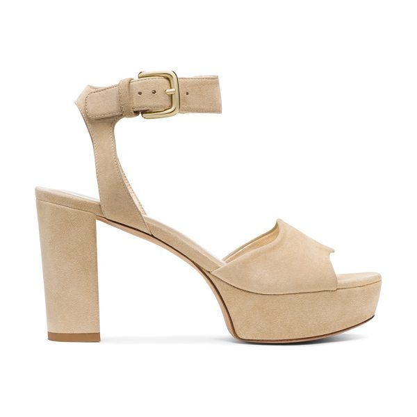 Stuart Weitzman Realdeal in buff suede - Sumptuous suede and high-shine leather elevate these...