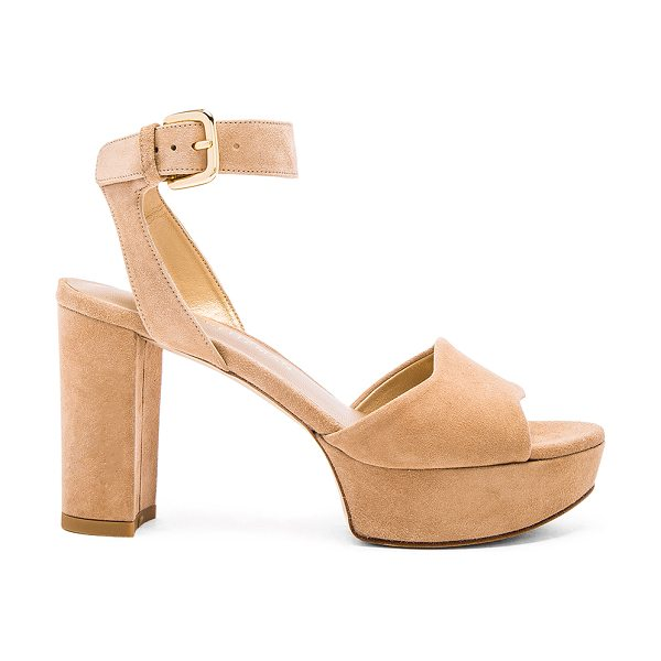 Stuart Weitzman Realdeal heel in beige - Suede upper with leather sole. Ankle strap with buckle...