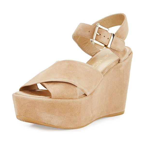 "Stuart Weitzman Realdeal Suede Wedge Sandal in brown - Stuart Weitzman suede sandal. 4"" covered wedge heel;..."