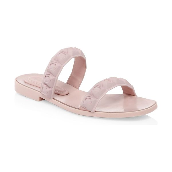 Stuart Weitzman rosita sandals in dustypink - Updated pool slides with molded rose straps. TPU upper....