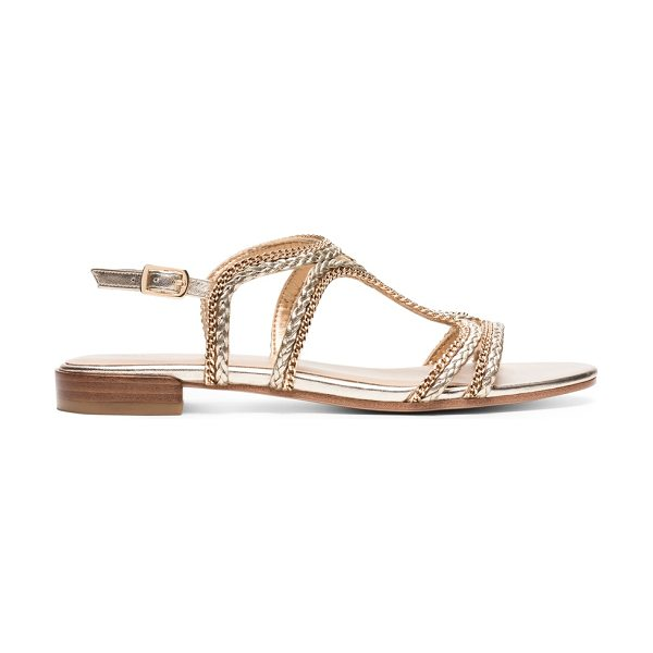 Stuart Weitzman Samoa in gold nappa leather - This easy-to-wear sandal is crafted from luxe nappa...