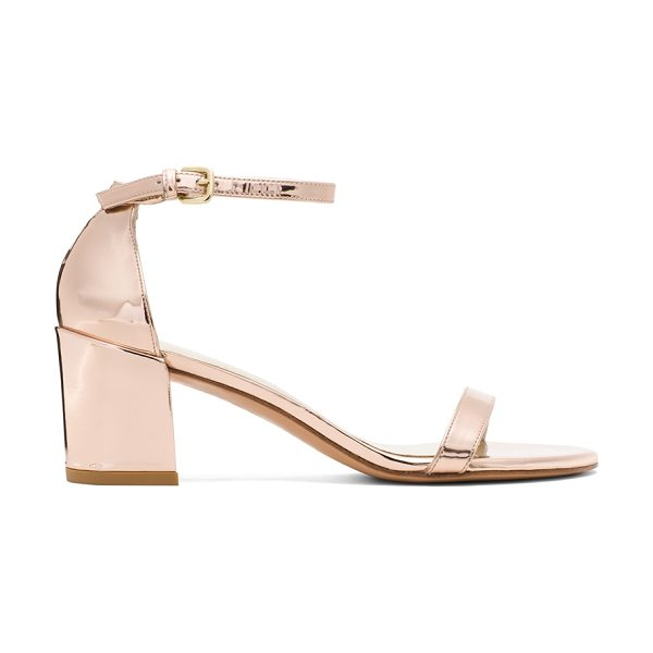 Stuart Weitzman Simple in rose gold glass - The SIMPLE single-sole sandals make a bold statement...