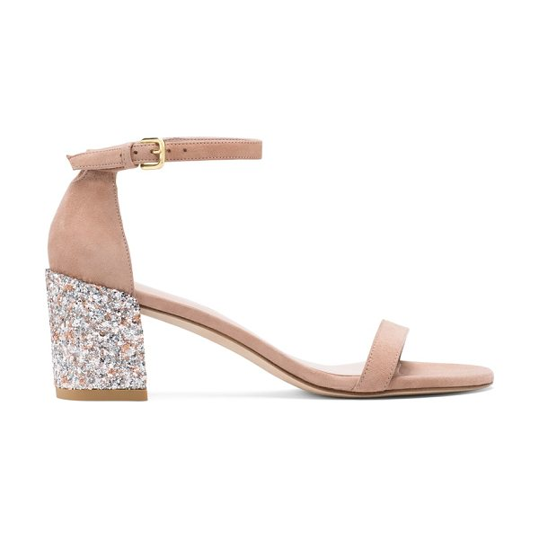 Stuart Weitzman Simplemid in naked pink beige suede - Sexy. Sharp. Sleek. Single-sole sandals return this...