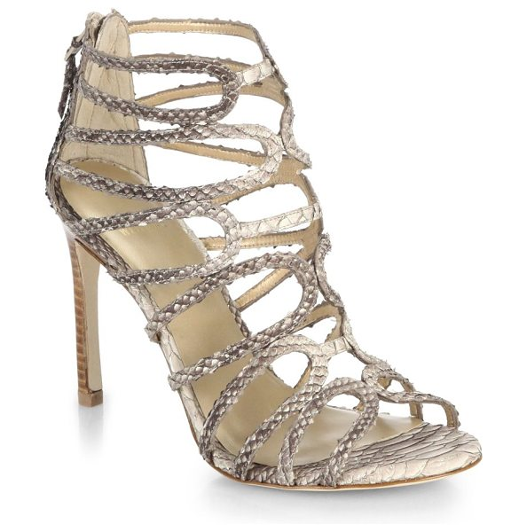 Stuart Weitzman Snake-embossed leather sandals in beige - Sophisticated and sexy with a tall, slim heel, these...