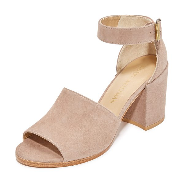 Stuart Weitzman soho gal sandals in haze - A covered block heel gives these suede Stuart Weitzman...