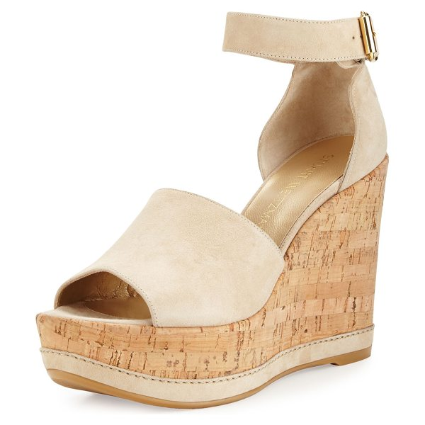Stuart Weitzman Sohogal Suede Wedge Sandal in buff (nude) - ONLYATNM Only Here. Only Ours. Exclusively for You....