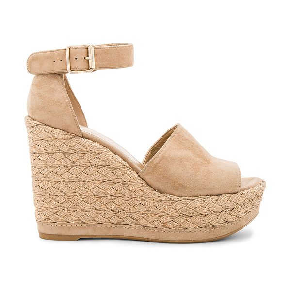 STUART WEITZMAN Sohojute Wedge - Suede upper with rubber sole. Ankle strap with buckle...
