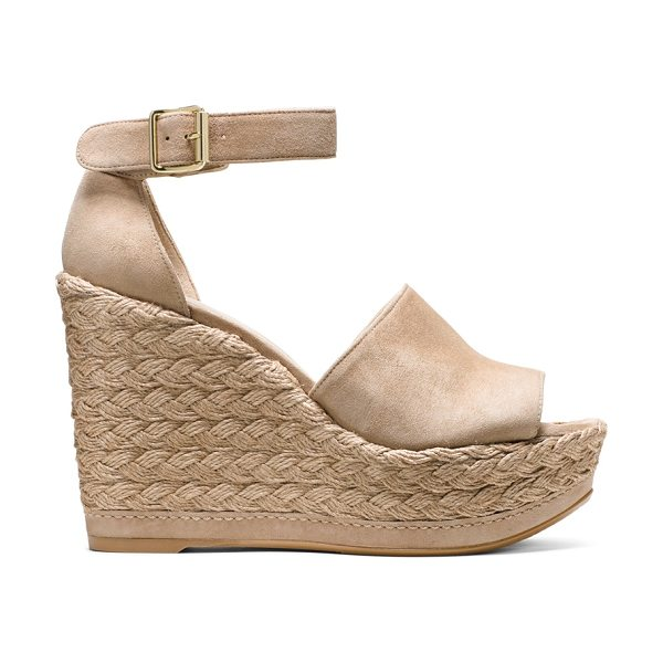 Stuart Weitzman Sohojute in mojave beige suede - Rise to every occasion in this vacation-ready wedge,...