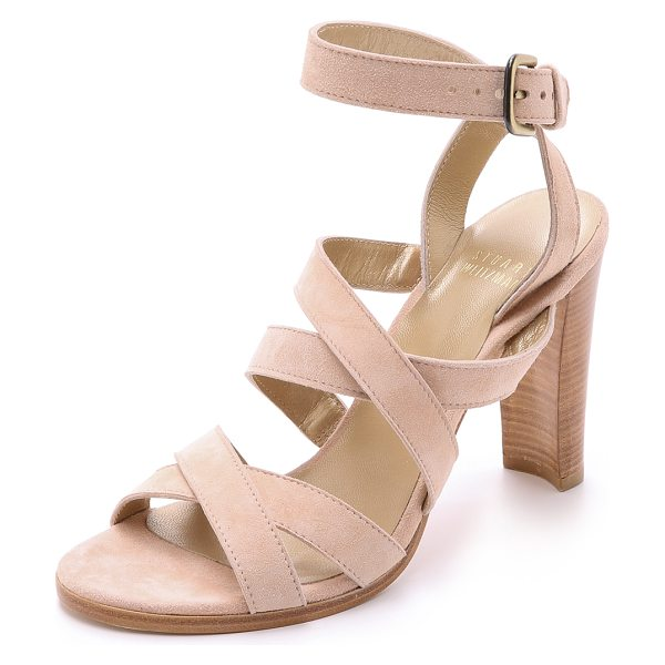 STUART WEITZMAN Soundtrack sandals - Crisscross straps cut clean lines on these velvety suede...