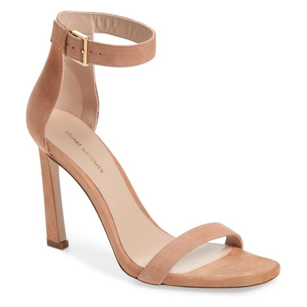 Stuart Weitzman 100squarenudist sandal in naked seda suede - A squared toe and angled stiletto heel add a touch of...