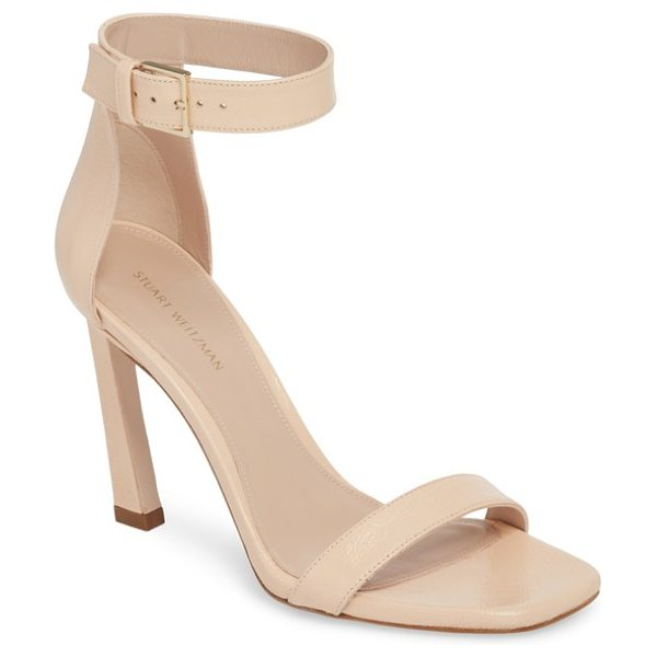 Stuart Weitzman 100squarenudist sandal in blush gleaming - A squared toe and angled stiletto heel add a touch of...