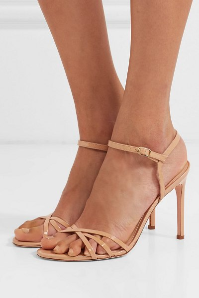 Stuart Weitzman starla patent-leather sandals in beige