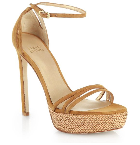 Stuart Weitzman Strappy suede platform sandals in camel - A slender, sky-high heel lifts this sleek sandal of...