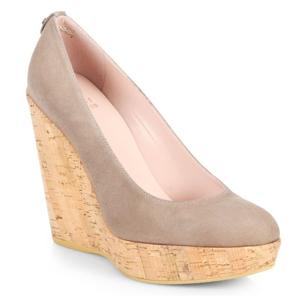 Stuart Weitzman Corkswoon suede cork wedge pumps in haze - A naturalistic cork wedge elevates these supple suede,...