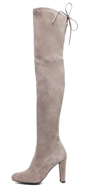 Stuart Weitzman Highland Suede Boots in gray - Suede upper with rubber sole.  Made in Spain.  Shaft...