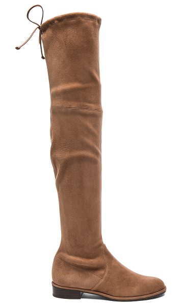 Stuart Weitzman Suede Lowland Boots in brown - Suede upper with rubber sole.  Made in Spain.  Shaft...