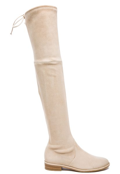 Stuart Weitzman Suede Lowland Boots in neutrals - Suede upper with leather sole.  Made in Spain.  Shaft...